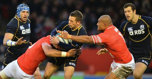 Greig Laidlaw tackled Scotland v Tonga