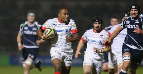 Kameli Ratuvou of Saracens breaks through the Sale Sharks defence to score
