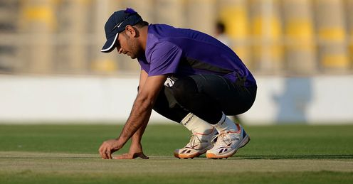 Mahendra Singh Dhoni: India&#39;s skipper inspects the pitch at The Sardar Patel Stadium