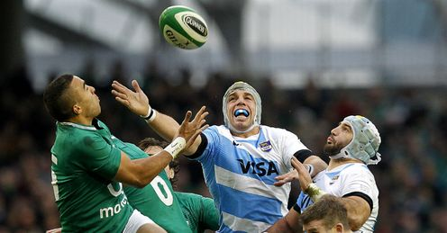 Simon Zebo on left Ireland v Argentina