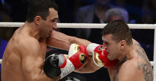 No glitch for Klitsch: Klitschko (left) beat Wach on points on Saturday night