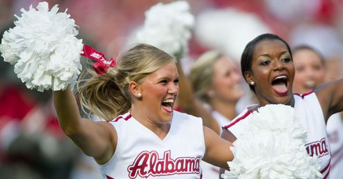 Big win: cheerleaders lead the Alabama celebrations