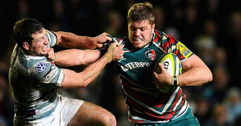 'Ed Slater' Leicester Tigers running with the ball against Declan Danaher of London Irish