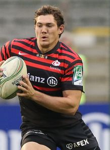 Alex Goode of Saracens runs with the ball during the Heineken Cup