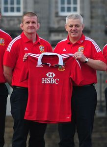 BRITISH AND IRISH LIONS HEAD COACH WARREN GATLAND 2ND R WITH ASSISTANTS ANDY FARRELL L GRAHAM ROWNTREE ROBERT HOWLEY