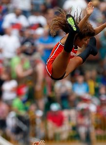 Dubai Sevens cheerleader in the air