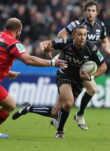 Ospreys wing Eli Walker in open space in Heineken Cup