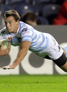 Racing Metro 92 s Juan Imhoff scores