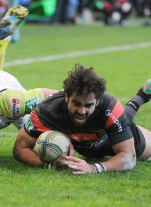 Toulouse s fullback Yoann Huget C scores vs Ospreys