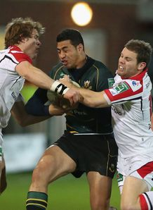 George Pisi; Andrew Trimble; Darren Cave saints v ulster