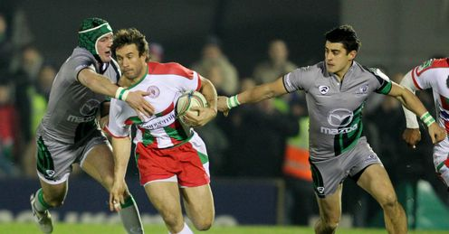 Marcelo Bosch with ball is tackled by Dave McSharry far left Biarritz v Connacht Heineken Cup Pool Three Galway Sportsground