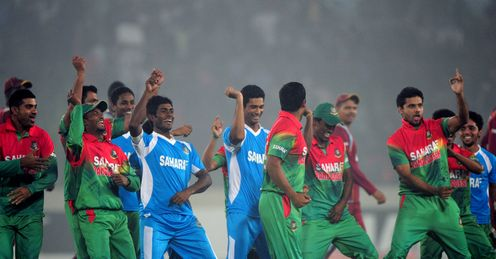 Bangladesh players dancing on the Dhaka outfield after winning ODI series 3-2 against West Indies with two-wicket win in 5th ODI