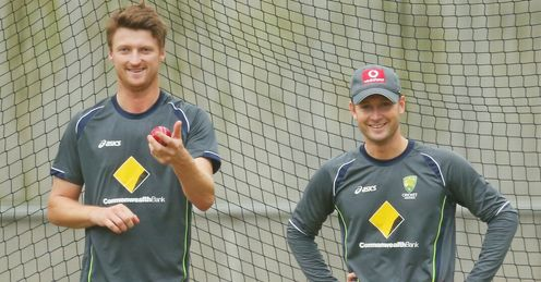 Jackson Bird and Michael Clarke Australia nets MCG Melbourne