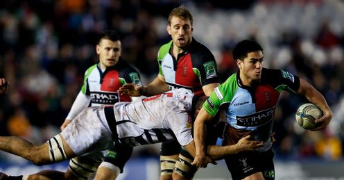 Ben Botica with ball Harlequins Heineken Cup
