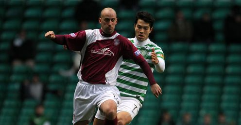 Arbroath player-manager Paul Sherrin during the 1-1 draw at Celtic Park