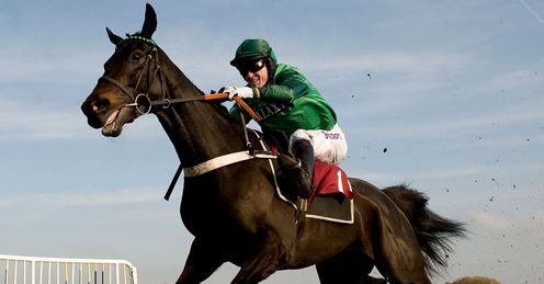 Tony McCoy riding Grandouet to victory in The Betfair Hurdle Race at Haydock in November 2011