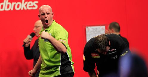 Van Gerwen: celebrates famous win over Lewis