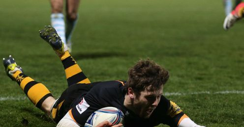 Elliott Daly Wasps scoring a try against Bayonne Amlin Challenge Cup
