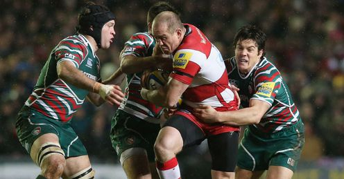 Mike Tindall Gloucester tackled by three Leicester players