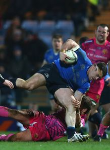 Cian Healy on a run for Leinster in Heineken Cup