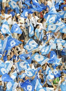 Montpellier s fans wave flags