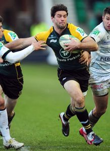 Northampton Saints Ben Foden 2nd R fends off Castres