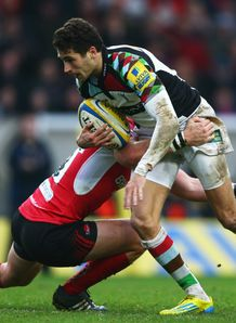 Ollie Lindsay Haue makes a break for Harlequins against London Irish