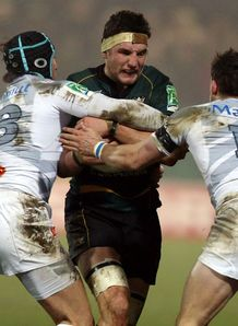 Phil Dowson is tackled Northampton v Castres Heineken Cup