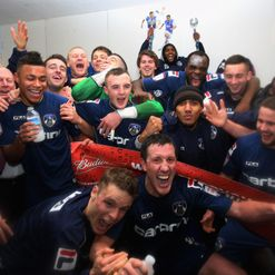 Oldham celebrate beating Liverpool
