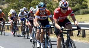 Edvald Boasson Hagen set tempo on the final climb as the race came down to Old Willunga Hill