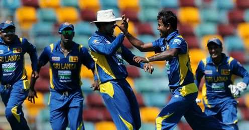 Nuwan Kulasekara 2nd right celebrates Australia v Sri Lanka 3rd ODI 2013