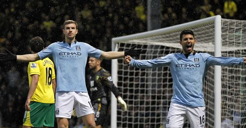 Dzeko (l): scored two in five minutes against Norwich