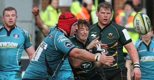 Martin Roberts of Northampton Saints Yann Thomas of Gloucester