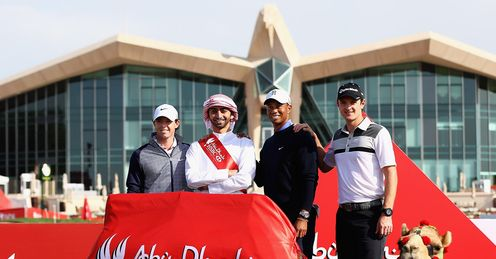 Rose posing alongside McIlroy and Woods
