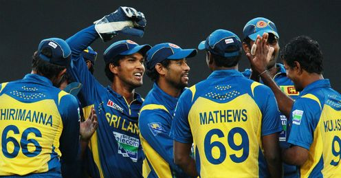 Sri Lanka celebrating a wicket during first Twenty20 against Australia Sydney