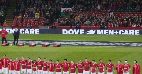 Wales line up for anthem