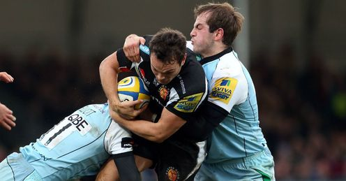 Phil Dollman tackled by Stephen Myler Exeter v Northampton Sandy Park January 5 2012