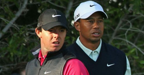 Tiger Woods (R) and Rory McIlroy, top seeds and favourities to win the WGC-Accenture match play