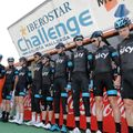 Team Sky are presented to the fans at the start of the day