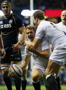 Billy Twelvetrees try celebration England v Scotland