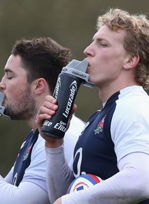 Brad Barritt and Billy Twelvetrees having a drink