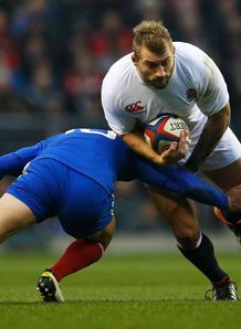 Joe Marler of England is tackled by Francois Trinh Duc
