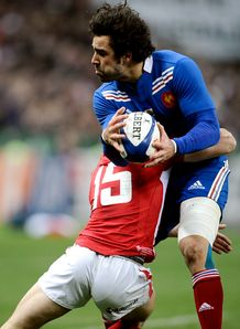 France v Wales Yoann Huget Leigh Halfpenny tackle