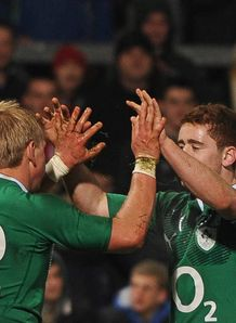 Luke Marshall and Paddy Jackson high five