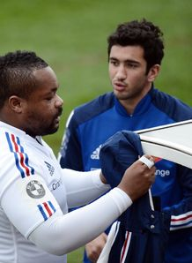 Mathieu Bastareaud L and centre Maxime Mermoz