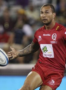 Reds fly half Quade Cooper kicking from hand