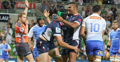 Hugh Pyle and Kurtley Beale Melbourne Rebels v Western Force round one 2013