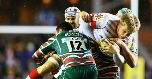 Jackson Wray tackled by Dan Bowden Saracens v Leicester Tigers Aviva Premiership Welford Road