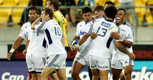 Blues celebration v Hurricanes Super Rugby