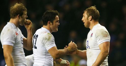 Brad Barritt of England shakes hands with Chris Robshaw